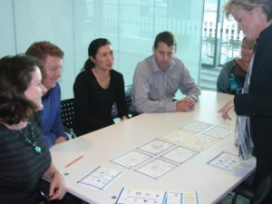 Sue Blair using the classic version of the Personality Puzzles in a team building workshop.